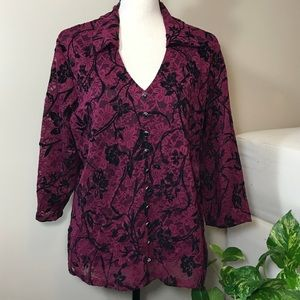 1XL Red and Black Lace Fully Lined Blouse